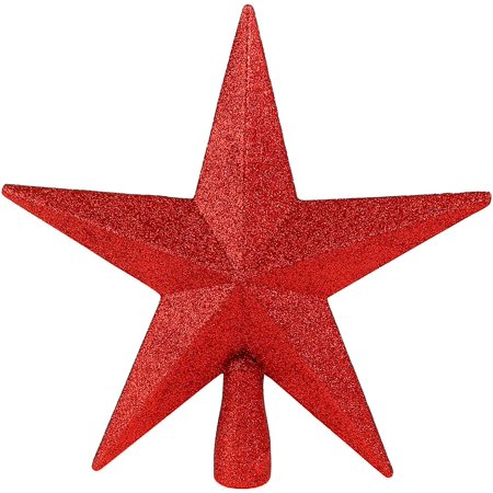 Ornativity Glitter Star Tree Topper - Christmas Red Decorative Holiday Bethlehem Star Ornament Glitter Star Christmas Ornament