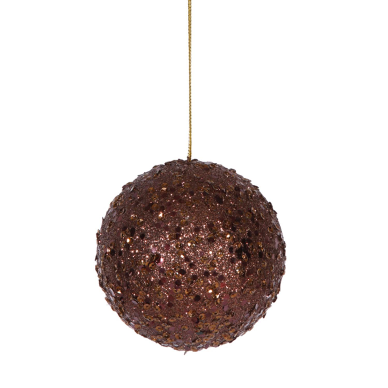 """Fancy Chocolate Holographic Glitter Drenched Christmas Ball Ornament 4.75"""""""
