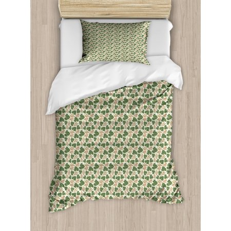Vine Duvet Cover Set Twin Size, Vineyard Pattern with Bunch of Grapes and Vine Leaves Print on Silhouette Background, Decorative 2 Piece Bedding Set with 1 Pillow Sham, Multicolor, by Ambesonne