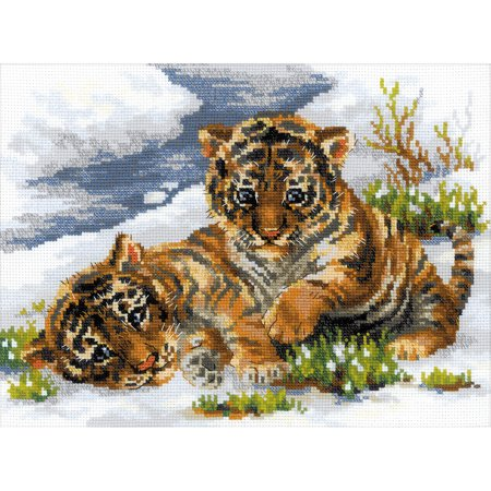 Tiger Cubs in Snow Counted Cross Stitch Kit, 15.75