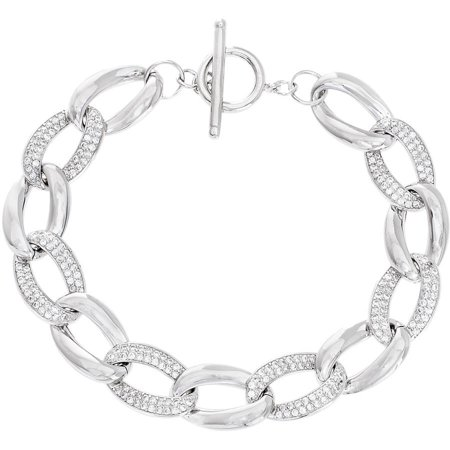 Lesa Michele Cubic Zirconia Sterling Silver Oval Pave Curb Chain Bracelet in Sterling Silver