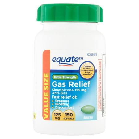 Equate Extra Strength Gas Relief Simethicone Softgels  125 Mg  250 Ct