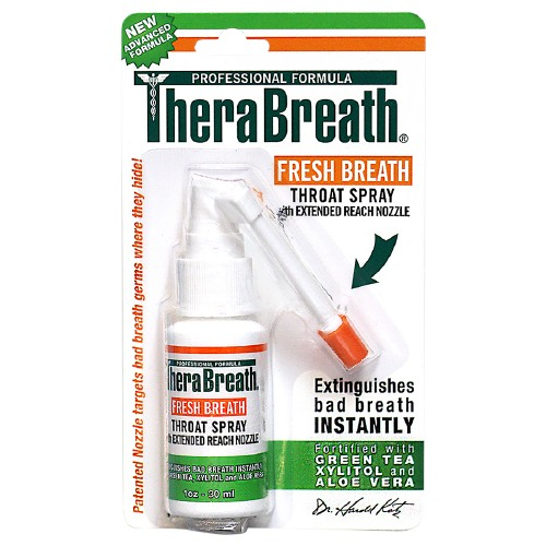 Therabreath Fresh Breath Throat Spray With Green Tea Xylitol And Aloe Vera - 1 Oz, 6 Pack