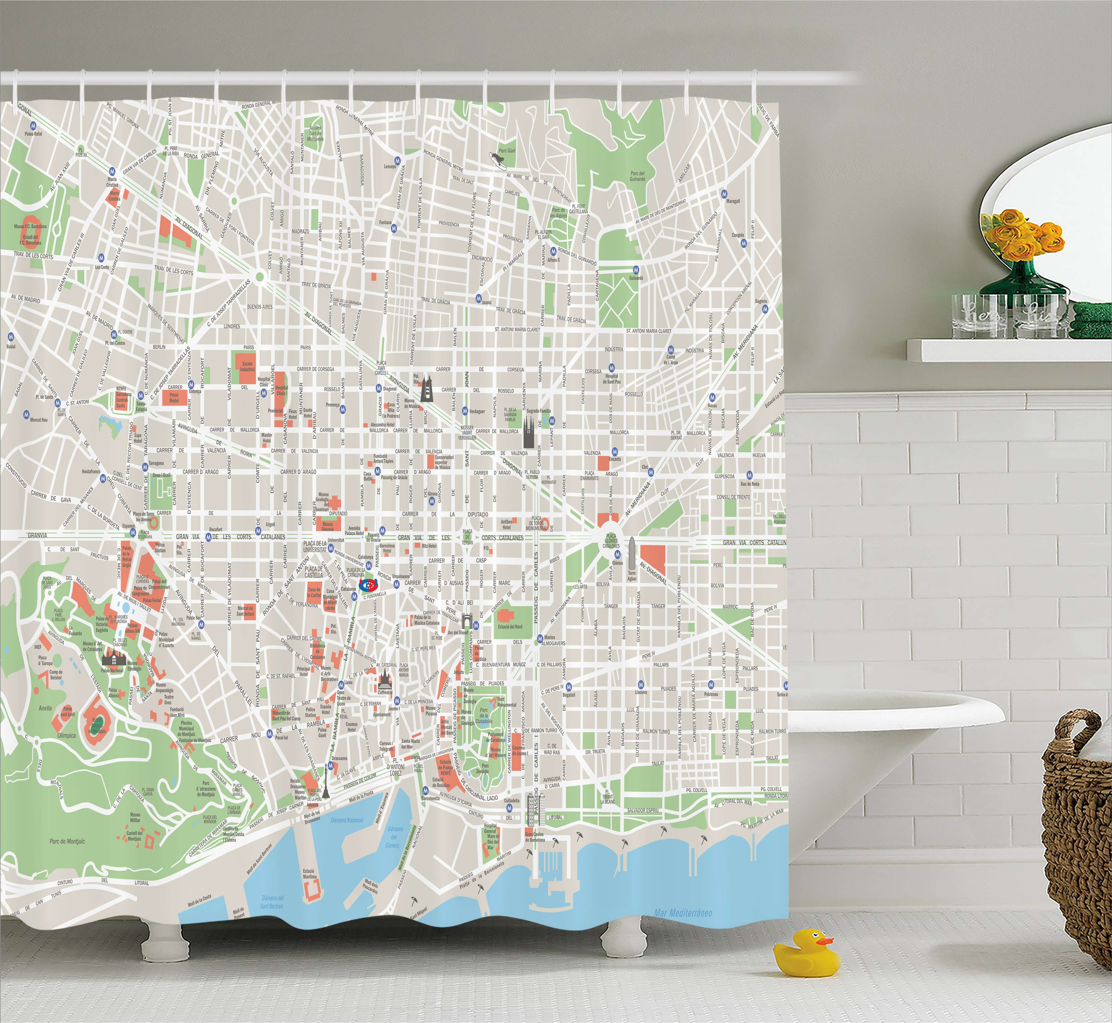Map Shower Curtain Of Barcelona City Streets Parks Subdistricts Points Interests Fabric Bathroom Set With Hooks 69W X 70L Inches Beige Lime Green