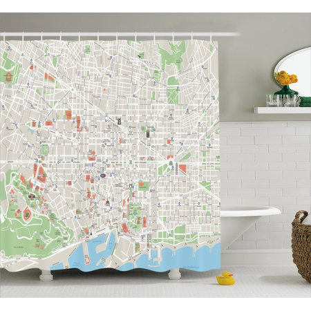 Map Shower Curtain Of Barcelona City Streets Parks Subdistricts Points Interests Fabric