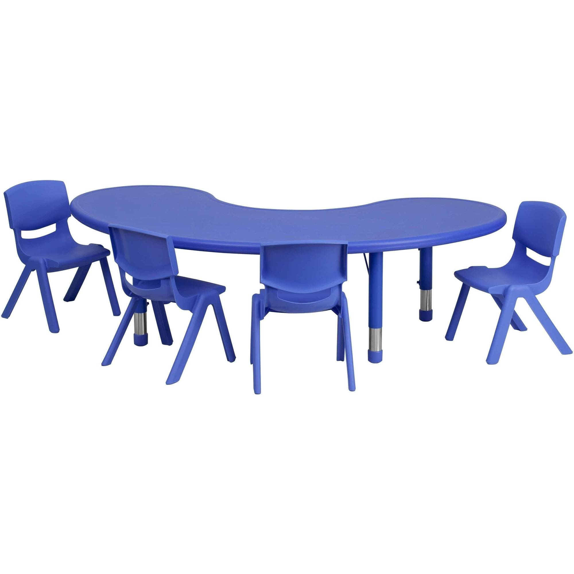 Flash Furniture 35u0027u0027W X 65u0027u0027L Adjustable Half Moon Plastic Activity Table  Set In Multiple Colors With 4 School Stack Chairs   Walmart.com