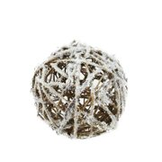 """Northlight 5"""" Frosted Twig Weave Ball Christmas Ornament - White/Brown"""