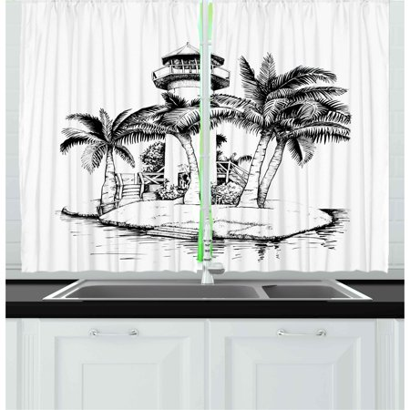 Tropical Curtains 2 Panels Set Lighthouse On Island