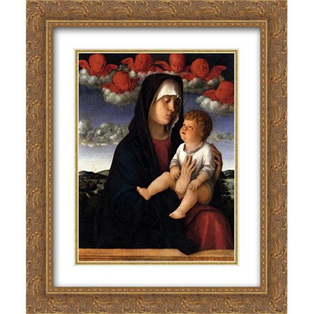Red Cherubs - Giovanni Bellini 2x Matted 20x24 Gold Ornate Framed Art Print 'The Madonna of the Red Cherubs'