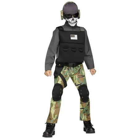 Halloween Boy's Skull Soldier Costume - Skull Face Halloween Makeup Men