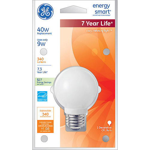GE Lighting 74586 Energy Smart CFL 9-Watt (40-watt replacement) 340-Lumen G18 Light Bulb with Medium Base,