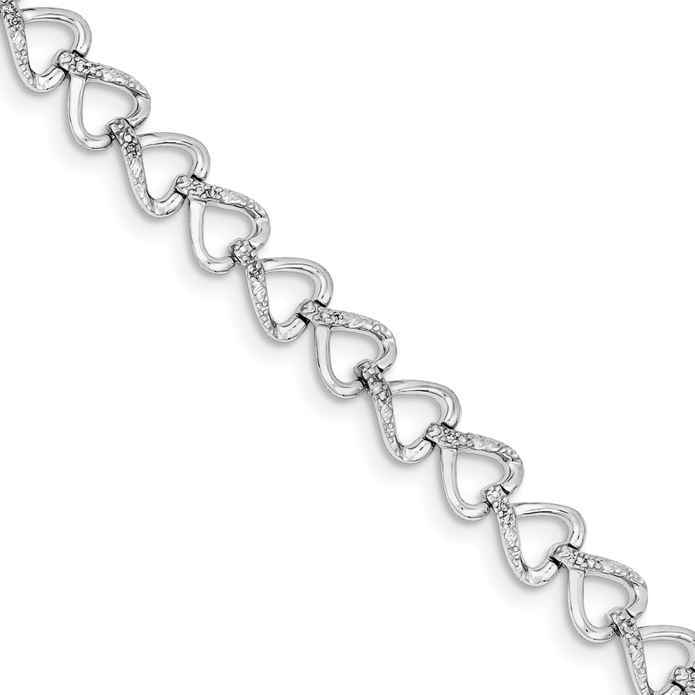Sterling Silver Diamond Hearts Bracelet. Carat Wt- 0.2ct