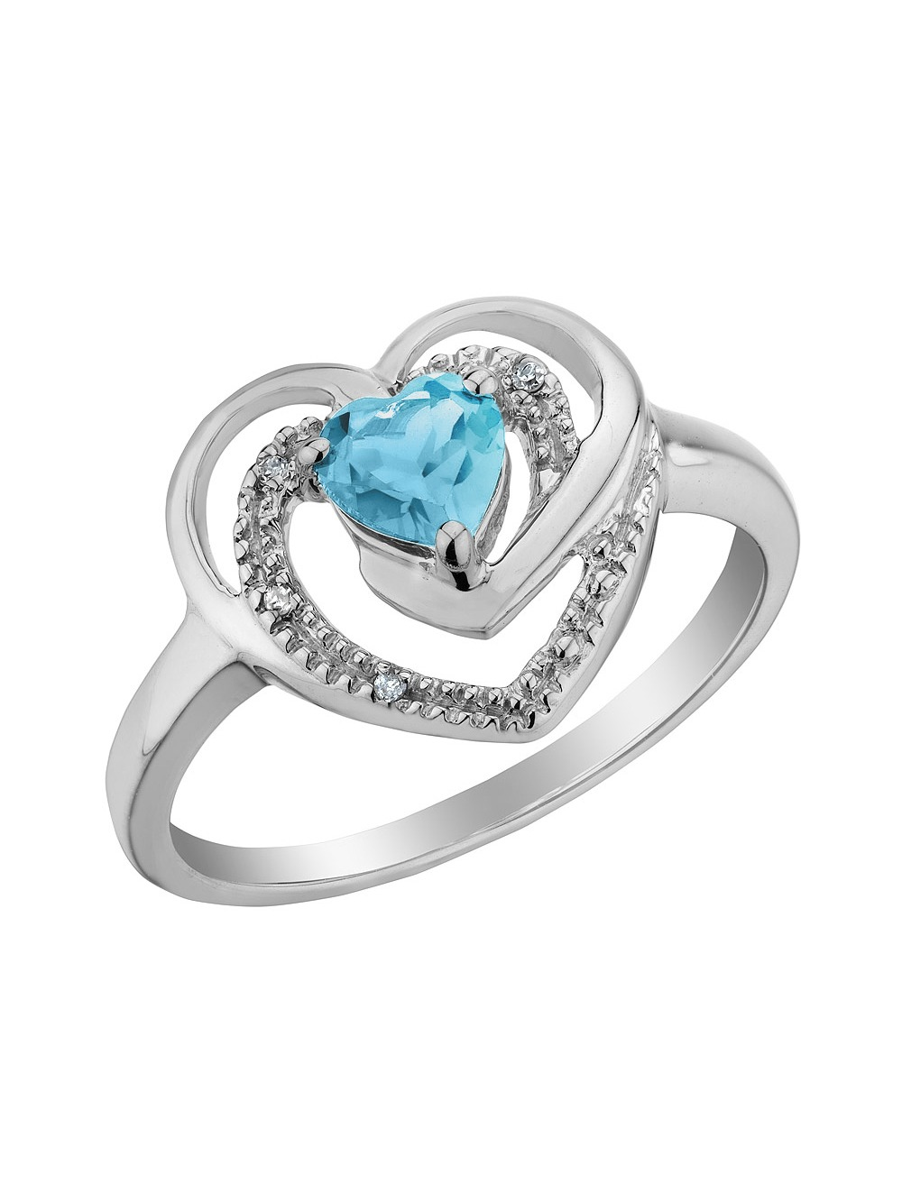 Blue Topaz Heart Ring with Diamonds 2/5 Carat (ctw) in Sterling Silver