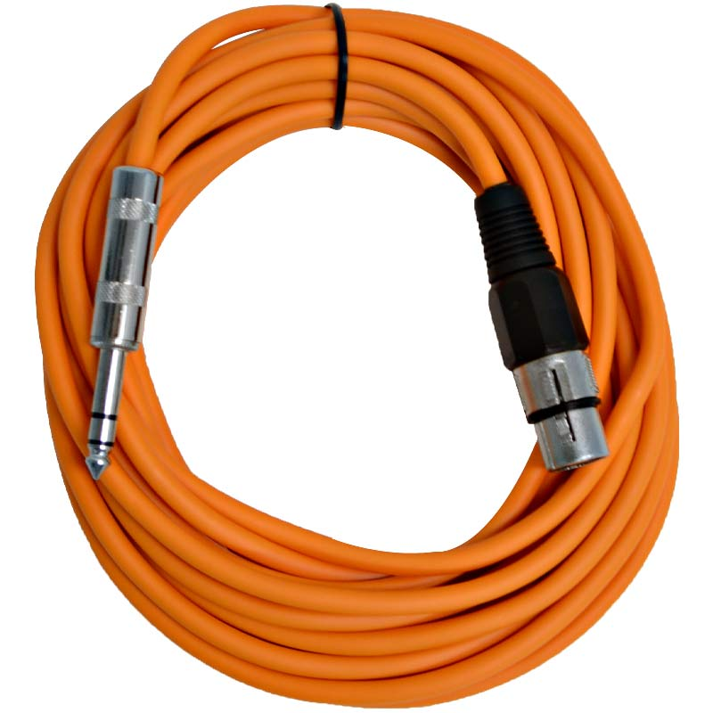 "Seismic Audio  - 25 Ft Orange XLR Female to 1/4"" TRS Patch Cable Snake Cords -NEW Orange - SATRXL-F25Orange"