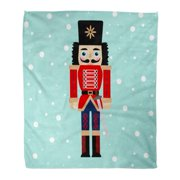 KDAGR Flannel Throw Blanket Greeting Ballet of Nutcracker Sword on Snow Christmas Holiday Soft for Bed Sofa and Couch 50x60 Inches