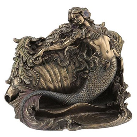 Mermaid & Conch Shell Ring Trinket Box NAUTICAL DECOR Sculpture Figurine Statue