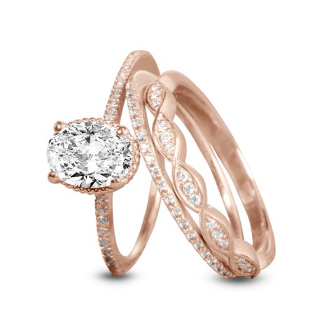 Jeenmata Classic 1 50 Carat Oval Cut Wedding Ring Set With Moissanite And Diamond For Women In Rose Gold Walmart Com
