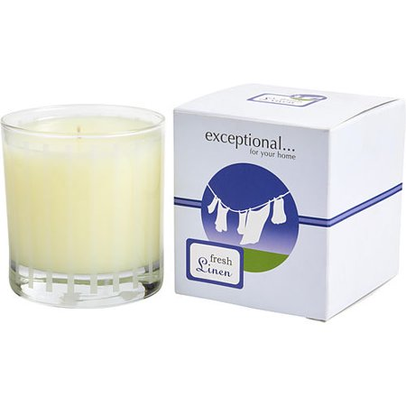 FRESH LINEN - LIMITED EDITION by Exceptional Parfums - FRESH LINEN SCENTED 6 OZ TAPERED GLASS JAR CANDLE. - UNISEX