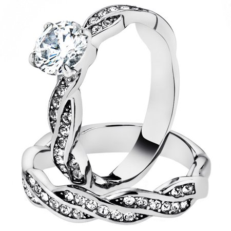 1.78 Ct Round Cut Cz Stainless Steel Twisted Wedding Ring Band Set Women's Size 5