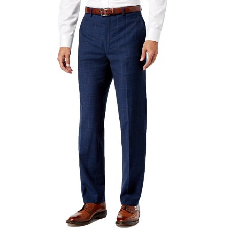 Ralph Lauren Mens Classic-Fit Ultraflex Pants (Navy Plaid, 38x32)