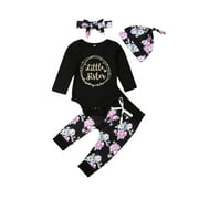 Springcmy 4pcs Newborn Baby Girl Little Sister Romper+Floral Pants Outfit