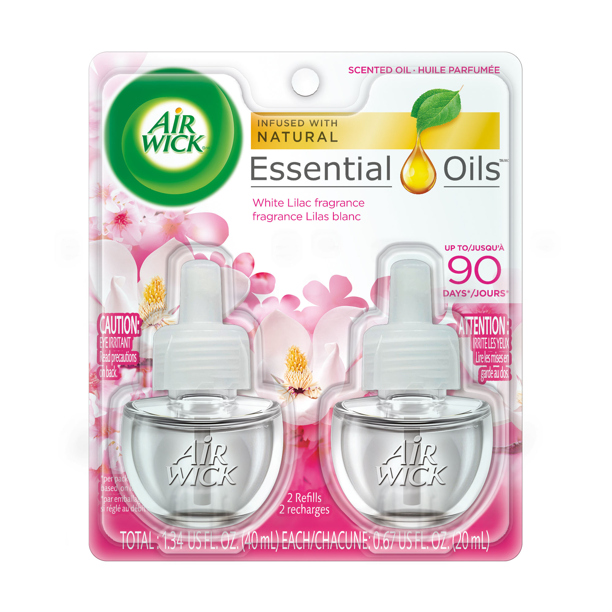 Air Wick Scented Oil 2 Refills, White Lilac, (2X0.67oz), Air Freshener