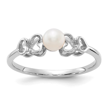 14k White Gold 4mm Freshwater Cultured Pearl Band Ring Size 6.00 Fine Jewelry For Women Gift - Cultured Pearl Set Ring