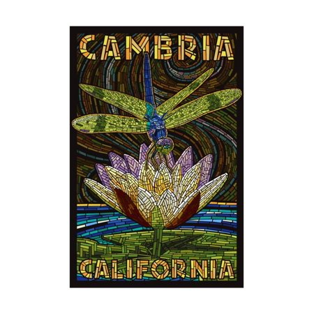 Cambiria, California - Dragonfly - Paper Mosaic Print Wall Art By Lantern Press ()