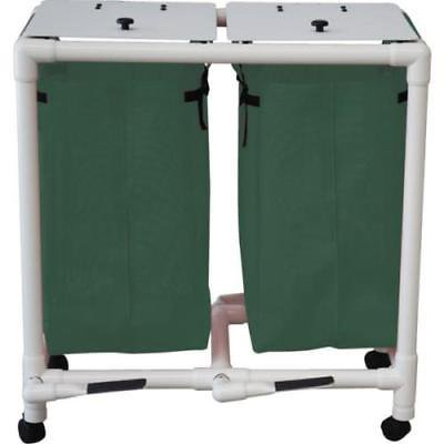 Echo Double Hamper With Mesh Bags And Foot Pedal - fitest Green