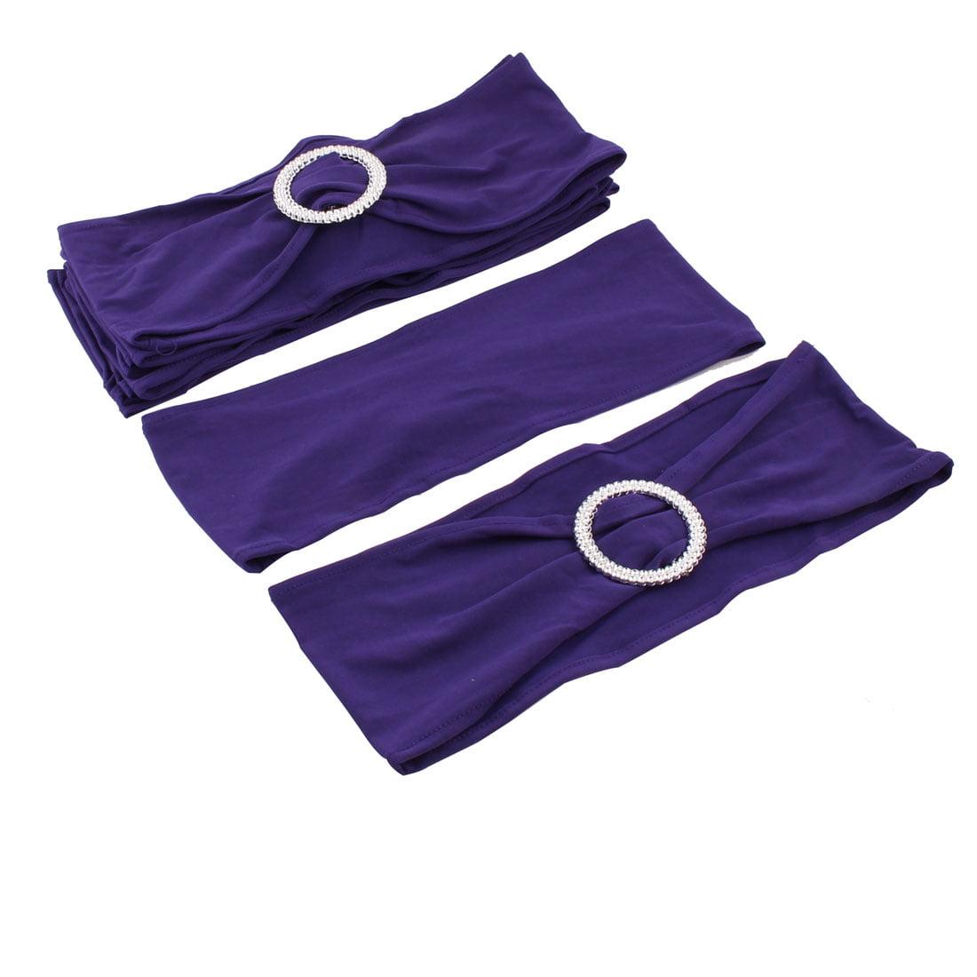 Spandex Elastic Chair Covers Bands Buckle Slider Sashes Bows Dark Purple 10pcs