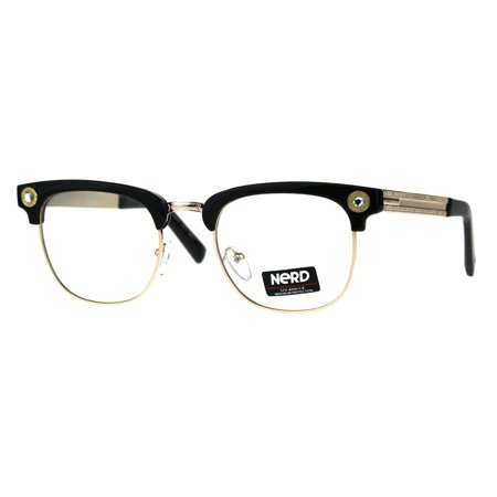 Gemstone Eyeglass (Rhinestone Jewel Half Rim Hipster Clear Lens Nerd Eye Glasses Black Gold)