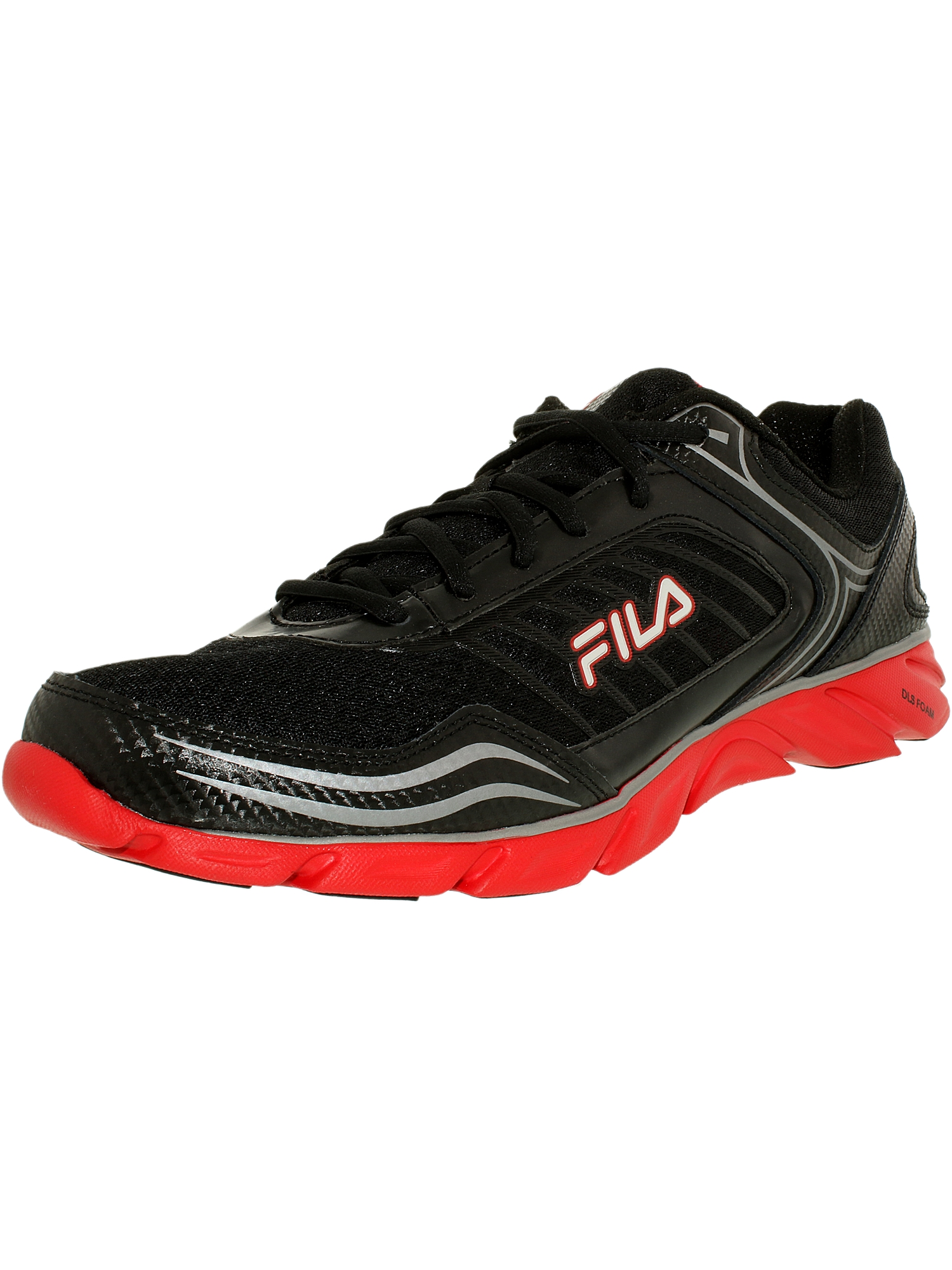 Fila Men's Memory Fresh 2 Black/Fila Red/Metallic Silver Ankle-High Running Shoe - 10M