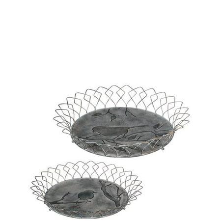 August Grove Chasteen Bird Design 2 Piece Basket Vanity Tray Set