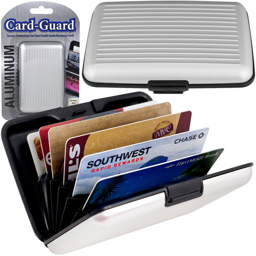 Trademark Aluminum Credit Card Wallet, RFID Blocking Case, Silver