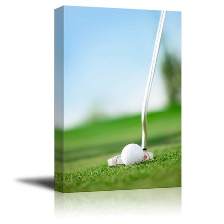 "Canvas Prints Wall Art - A Golf Club with Golf Ball on a Golf Course | Modern Wall Decor/Home Decor Stretched Gallery Canvas Wraps Giclee Print & Ready to Hang - 24"" x 16"""