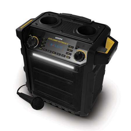 Water Resistant Component Speaker System - Ion Explorer Outback 2  Wireless Bluetooth Water Resistant  Rechargeable Speaker System - Black