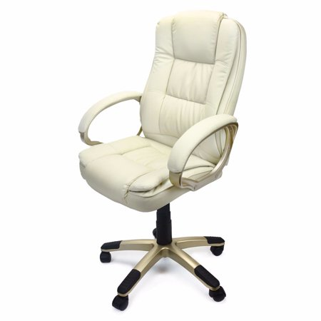Deluxe High Back Office Chair Pu Leather Executive  White