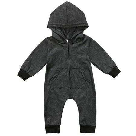 c8b7dfd1f Gaono - Unisex Babys Winter Long Sleeve Zipper Up Hooded Romper ...