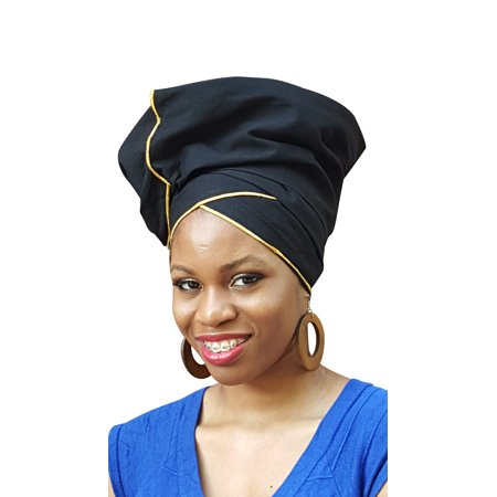 Black and Gold African Head wrap