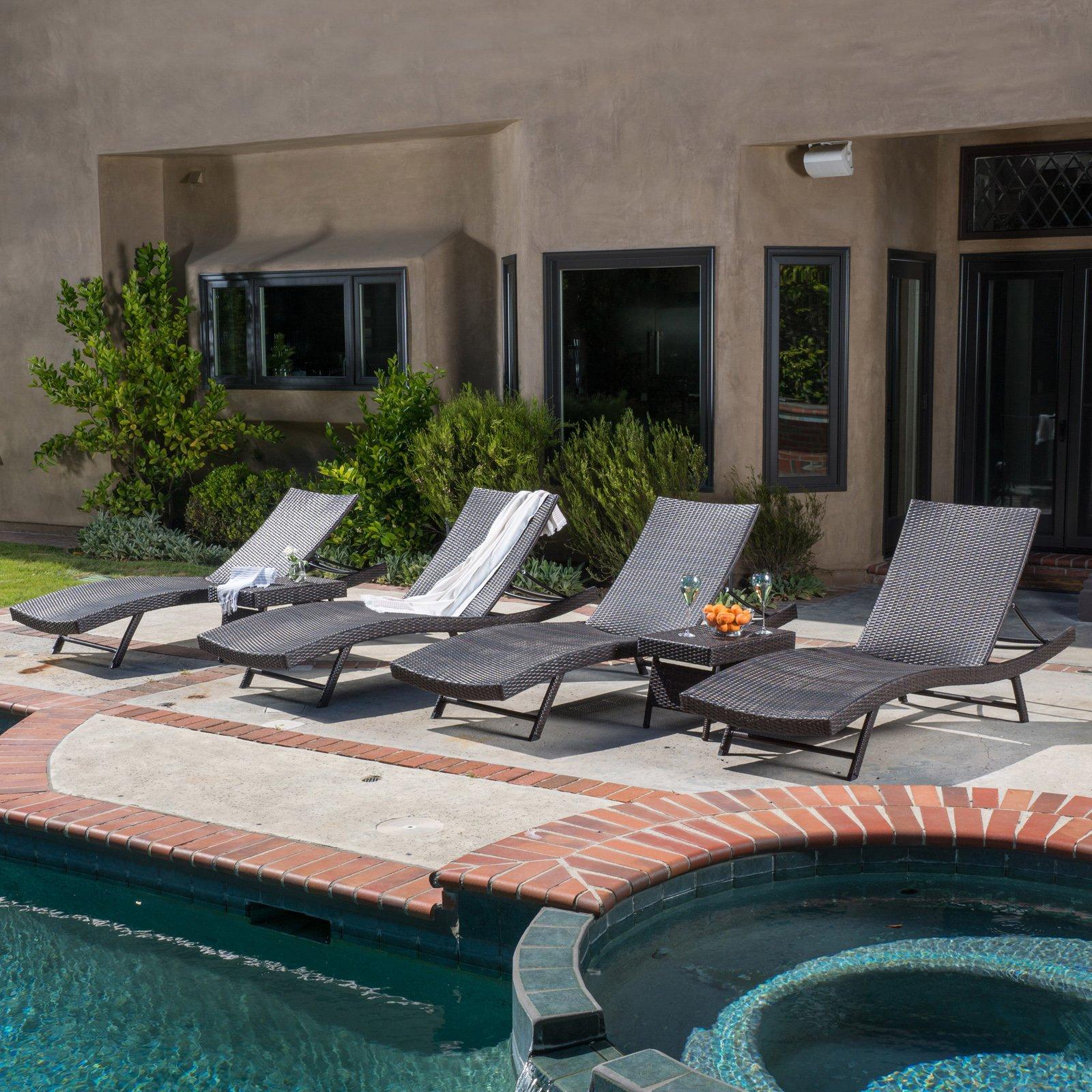 Best Selling Home Decor Kauai Wicker 6 Piece Chaise Lounge Set