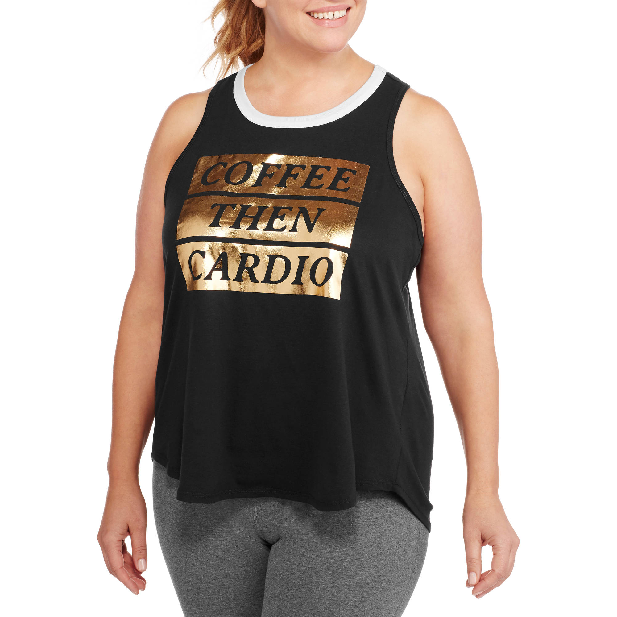 F.I.T. Women's Plus Coffee Then Cardio Hi-Low Workout Tank