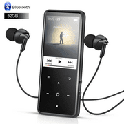 AGPTEK 32GB MP3 Player Bluetooth 4.0 with 2.4 Inch TFT Color Screen, FM/Voice Recorder Touch Button Music Player,Black