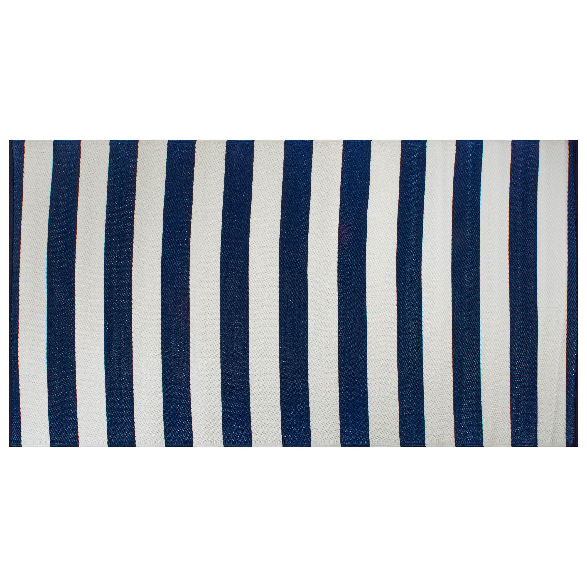 4 X 6 Navy Blue And White Rectangular Striped Outdoor Rug Walmart Com Walmart Com