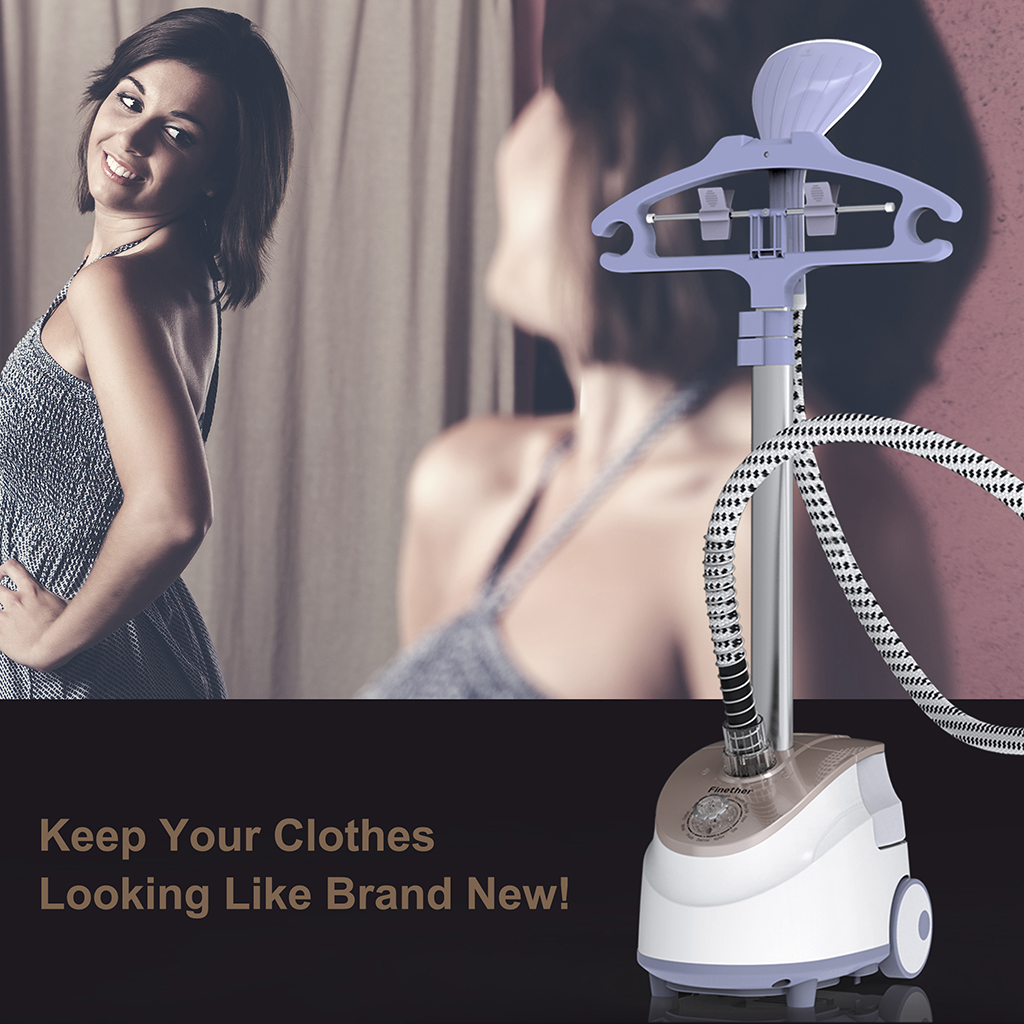 Finether High-Powered Standing Fabric Steamer with 11 Steam Levels, Garment Hanger,... by Finether