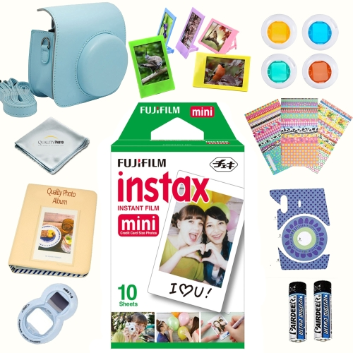Fujifilm instax mini Film accessories KIT BLUE includes - instant film 10 pack +  deluxe bundle for Fujifilm instax mini Film camera