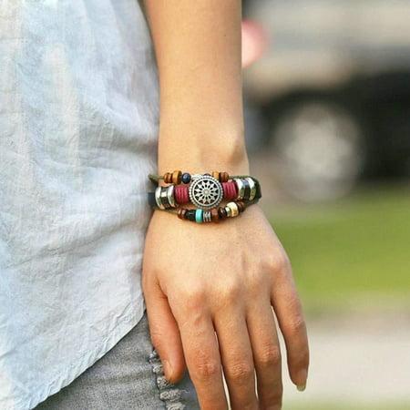 Mens Ladies Fine leather hand-woven braid rope Multi layer Bracelet Unisex