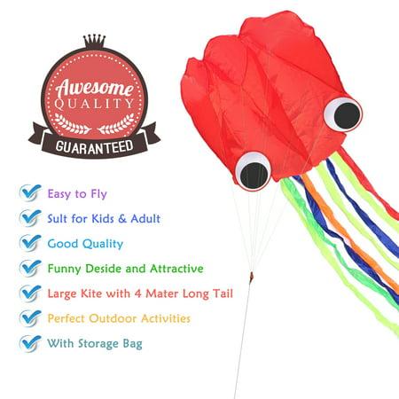 Octopus Kite 4m single Line Stunt Kite Long Tail Outdoor Sport Family Kids Toys