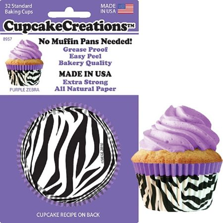 - , No Muffin Pan Required Baking Cups, Purple Zebra, 8957, Baking cups fit in standard muffin tins By Cupcake Creations