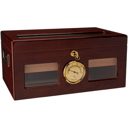 Prestige Import Group Valencia Glass Top Cigar Humidor - Capacity: 120 Cigars - Finish: High