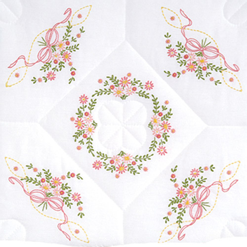 """Jack Dempsey Interlocking Floral And Ribbons Stamped White Quilt Blocks, 18"""" x 18"""""""